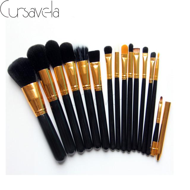 15 unids Marrón Pincel de Maquillaje Pinceles de Maquillaje de Pelo de Cabra Profesional Fundación Powder Blush Delineador de ojos Cepillos EAB027