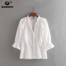 ROHOPO EU Size Women Cotton Embroidery Buttons Fly Top Shirt Three Quarter Butterfly Sleeve Chic Ladies Cardigan Tees #CW9264