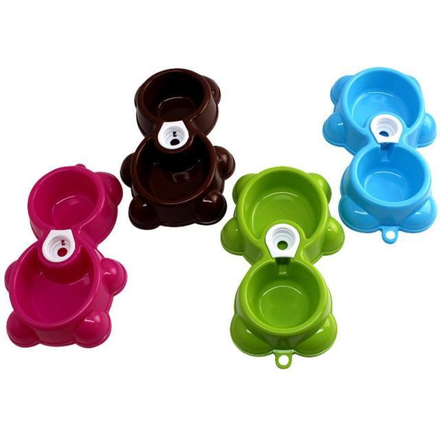 Dish Water Food Feeder Fountain Bear Double Bowl Hot Puppy Dog Cat Bowl XT