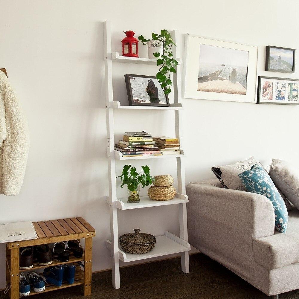 SoBuy Moderna Estantería Escalera con Cinco Estantes en Color Blanco,FRG17-W,ES