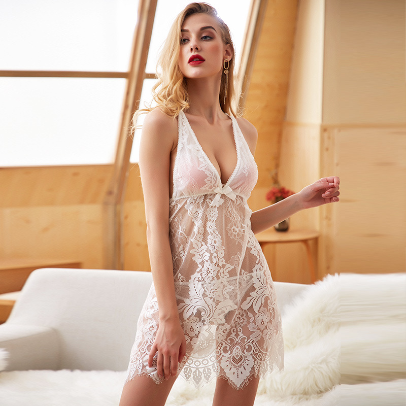 Yhotmeng sexy lace lingerie cross perspective backless strap nightdress suit home service female