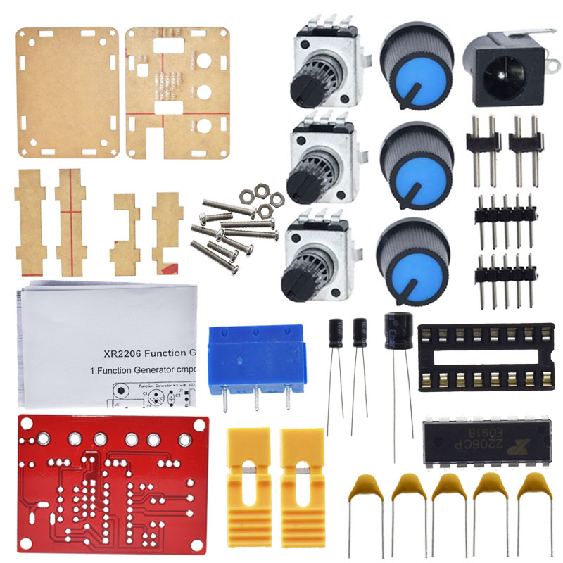 XR2206 Function Signal Generator DIY Kit Sine/Triangle/Square Output 1Hz-1MHz Signal Generator Adjustable Frequency AmplitudeXR2206 Function Signal Generator DIY Kit Sine/Triangle/Square Output 1Hz-1MHz Signal Generator Adjustable Frequency Amplitude