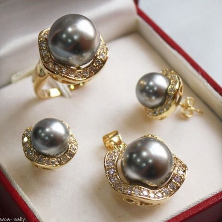 Hot sale new Style >>>>>New 10mm & 14mm Gray South sea Shell Pearl Earrings Ring Pendant Jewel Set