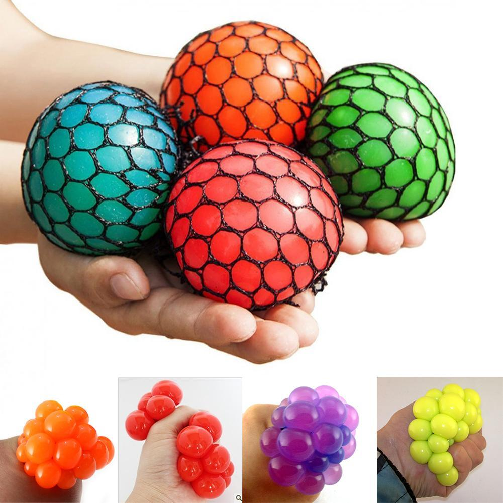Squeeze Toys Squeeze Mesh Ball Grape Squeeze Toy Grapes Anti Stress Squeeze Toy Novelty Anti Stress Gadget Random Color