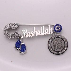 Image 1 - Müslüman İslam türk nazar Kuran dört Qul suras Maşallah Paslanmaz çelik broş bebek pin