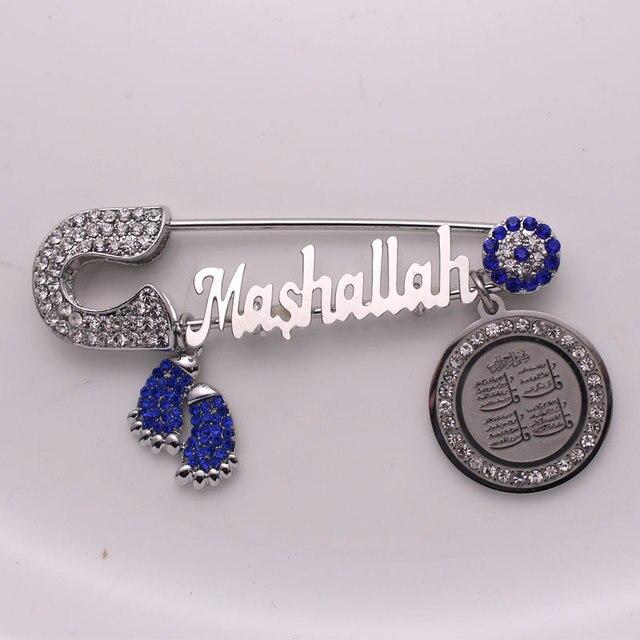 Musulmano islam turco dellocchio diabolico del Corano quattro Qul suras Mashallah In acciaio inox spilla bambino pin