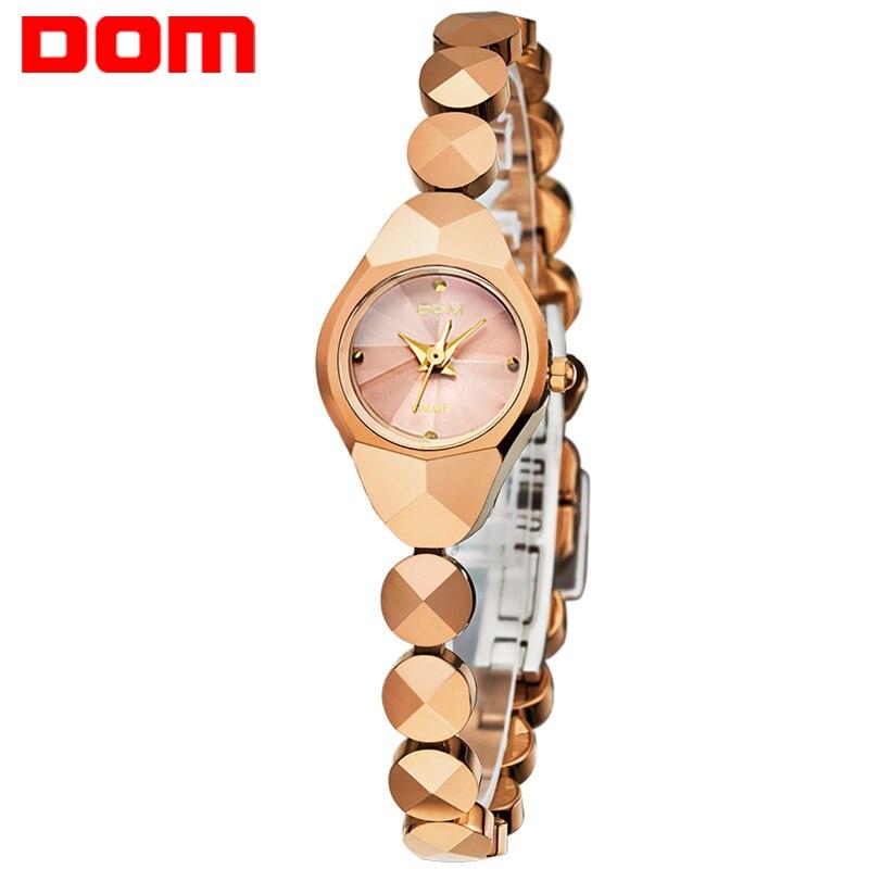 DOM для женщин Элитный бренд водостойкий Стиль Кварцевые часы Вольфрам сталь Золото часы медсестры браслет для женщин W-735CK-9M