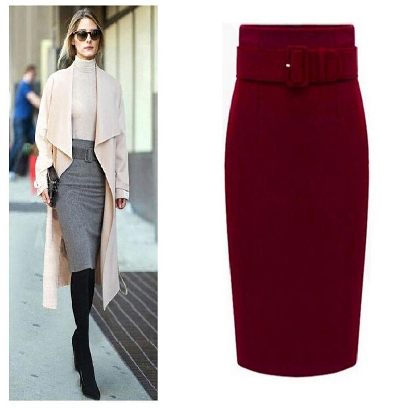 New Fashion Autumn Winter Women Solid Slim Skirts 2015 Cotton Plus Size High Waist Saias Femininas Casual Midi Pencil Skirt