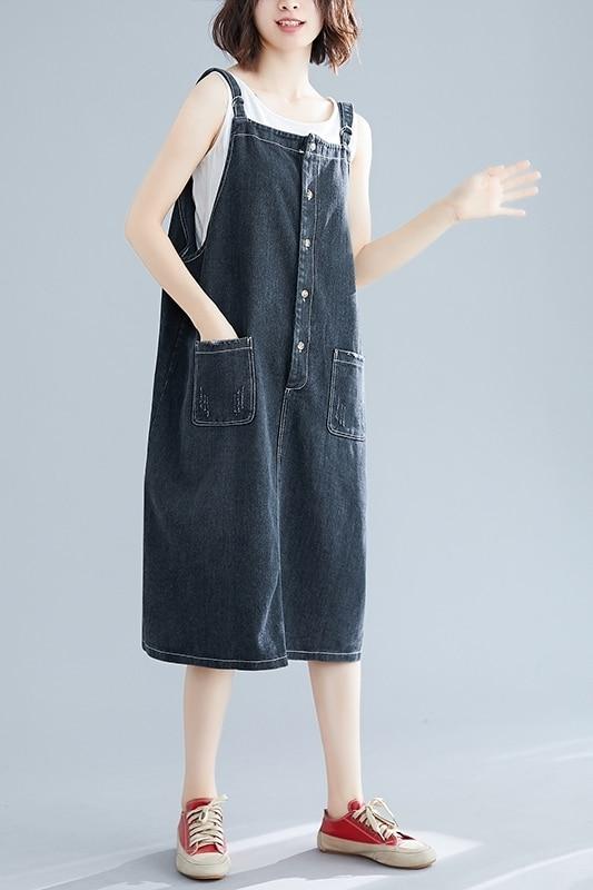 Vintage Denim Dress Summer Ladies Suspenders Jeans Dresses Female Casual Loose Button Pocket Cowboy Dresses Vestidos in Dresses from Women 39 s Clothing