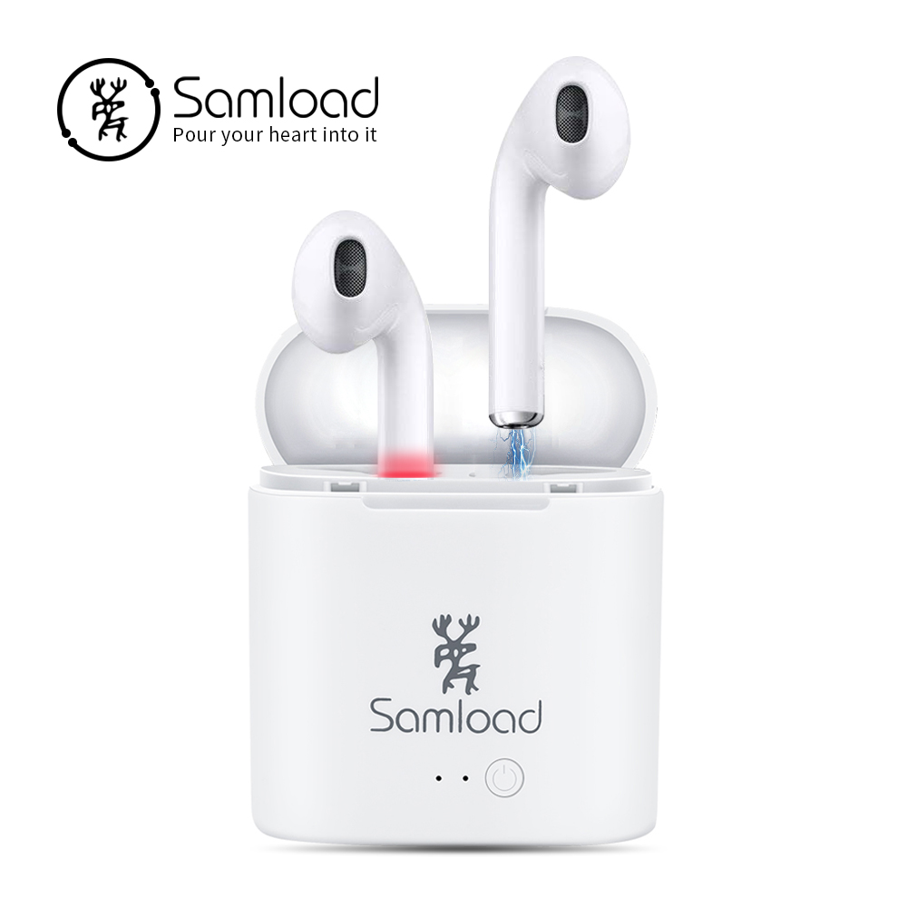 Samload I7S TWS Écouteurs Ture Sans Fil Bluetooth Écouteurs Doubles Jumeaux Écouteurs Stéréo Musique Casque Pour iPhone 7 8 Téléphone Intelligent