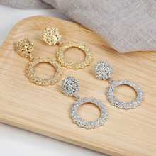 2019 New Popular Vintage Earrings For Women Golden Silver Color Round Circle Hollow Heavy Punk Earring Gift For Party Brincos(China)