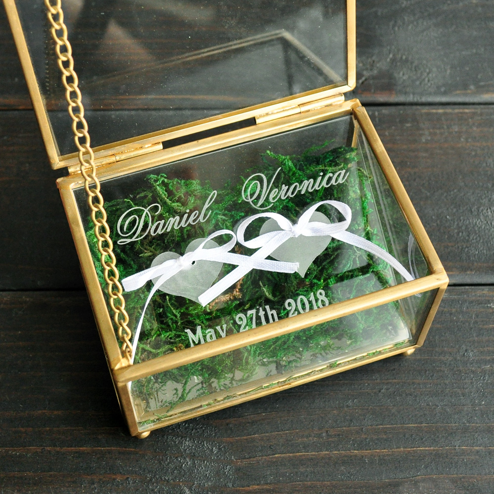Custom Wedding Ring Bearer, Personalized Wedding Ring Box Glass Box Geometric Glass Ring Holder Box, Personalized Jewelry Box
