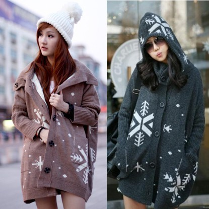 Multifunctional 0922 hood with a large lapel loose medium-long plus size thick sweater outerwear overcoat  N703A