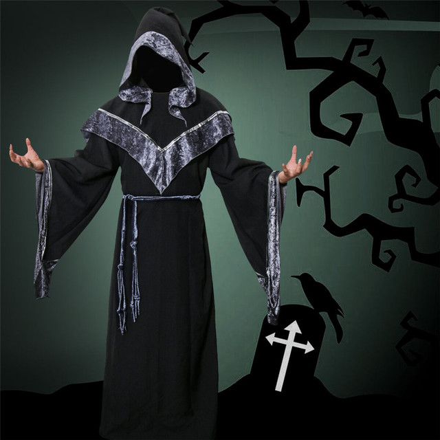 Adult Men Wizard Priest Outfit Dark Sorcerer Robe Monk Robe Religious Godfather Wizard Costume Halloween Devil Witch Cosplay