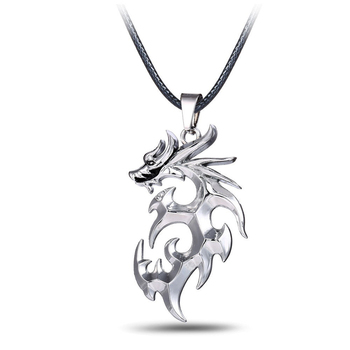 Cosplay Anime Dragonball Z Necklace Silver Color Dragon Shape Metal Pendant Gift Accessories for Men Women image
