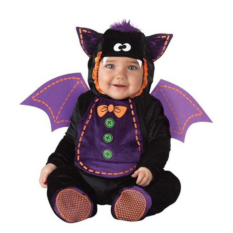 Image 5 - New High Quality Baby Boys Girls Halloween Bat Vampire Costume Romper Kids Clothing Set Toddler Co splay Pink-in Rompers from Mother & Kids