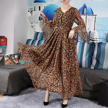 Bell Sleeve Bohemian Leopard Print Chiffon Long Plus Size Summer Wedding Guest Beach Holiday Maxi Dress Bridesmaid Sundress