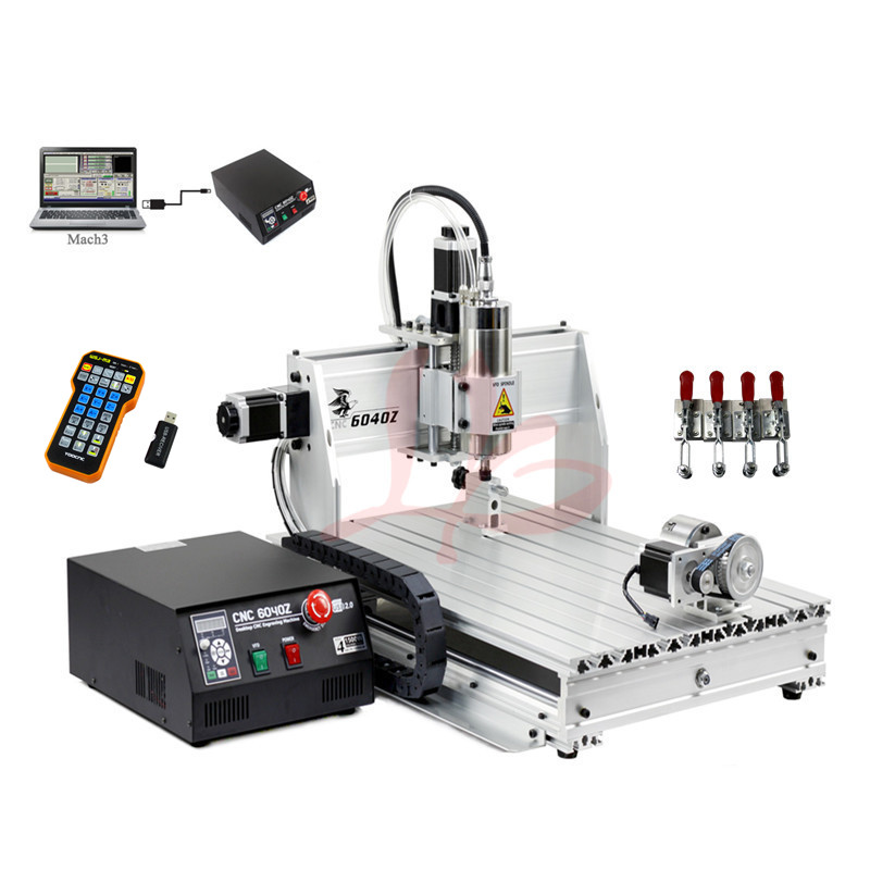 Small Mini CNC milling machine 6040Z CNC router 3axis 1.5KW for marble metal spring collects + tool bits