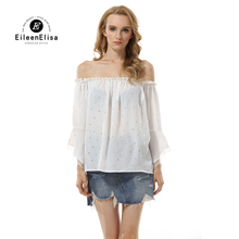Eileen Elisa Transparent Blouse White Womne 2017 Sexy Off Shoulder Shirt Tops Elastic(China)