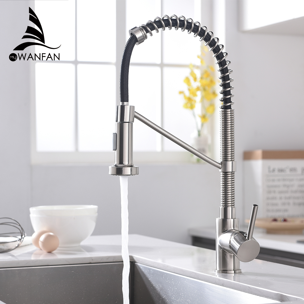 Kitchen Faucets Brush Brass Faucets For Kitchen Sink  Single Lever Pull Out Spring Spout Mixers Tap Hot Cold Water Crane 866036