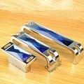 Novo Design Cor Azul Cristal Lida Com Maçaneta Da Porta Do Armário Armário Da Gaveta Wardrobe Dresser Maçanetas de Puxar
