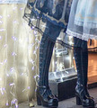 Princesa gótico lolita meia-calça Super bonito tipo! jacquard preto Sexy show fina até mesmo calças meia-calça LKW201
