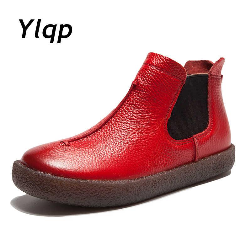 2018 Kadın İngiltere Tarzı Marka Yeni Kadın Hakiki Deri düz çizmeler Ayakkabı Bayan Sonbahar yarım çizmeler Kış Retro Martin Çizmeler