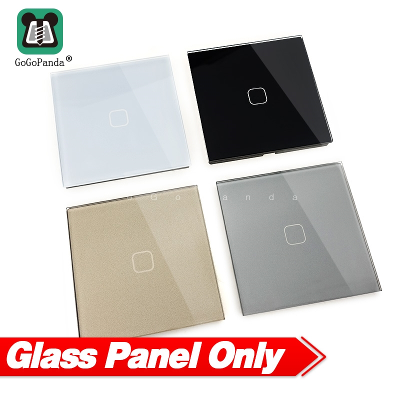 Touch Switch Panel Round Square 86mm *86mm EU UK 1G 2G 3G Luxury Crystal Glass Panel White Black Grey Gold 1 Piece Not 4Pieces