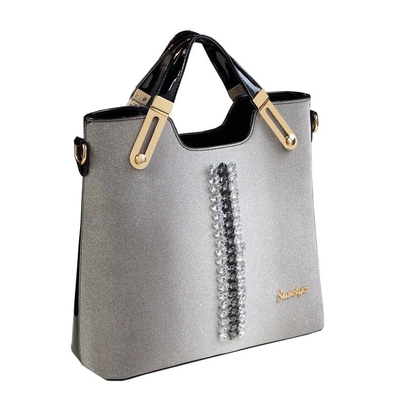 все цены на ICEV Simple Diamonds European Fashion Patent Leather Handbags Top Handle Bags Handbags Women Famous Brands Women Leather Handbag