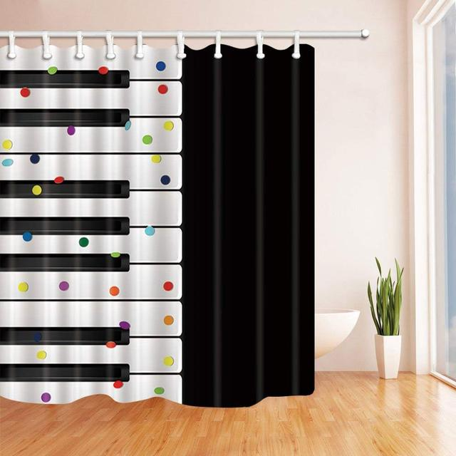 Piano Decor Abstract White Black Music Keys With Confetti Shower Curtain Waterproof Polyester Fabric Bathroom Decorations