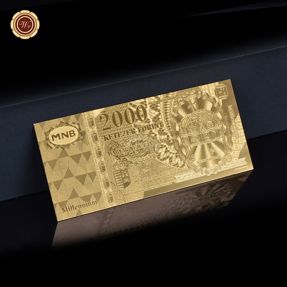 New Arrive Hungary 2000 Forint Gold Foil Banknote Gold Painted Note Collection