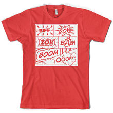 цена Biff Pow Bam Comic Book - Mens T-Shirt - 10 Colours - Popart - Free UK Delivery Print T Shirt Mens Short Sleeve Hot Tops Tshirt онлайн в 2017 году