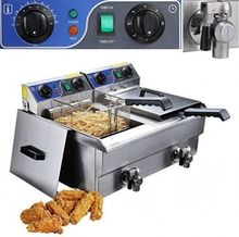 20L Commercial Deep Fryer Stainless Steel Dual Tank with Digital Timer and Drain gas fryer with temperature control stainless steel single tank lpg gas deep fryer with safety device