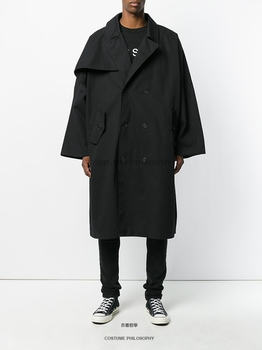 The new spring original customized medium and long style windbreaker men's black ultra-loose double-breasted coat.       S-6XL!!