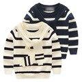 Качество Детская одежда способа малышей полосатые свитера мальчики девочки Хлопок Трикотажные Детские свитера одежда детской одежды 18m-5y