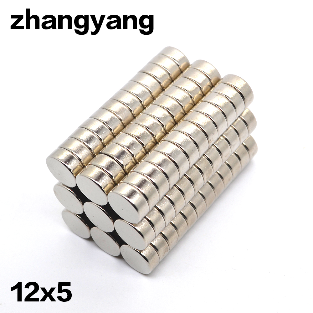 ZHANGYANG Wholesale 10pcs/lot 12mm x 5mm 12x5 Disc Round Cylinder Rare Earth Neodymium Magnets 12*5 NEW Art Craft Connection 2 pcs new 44mm cylinder