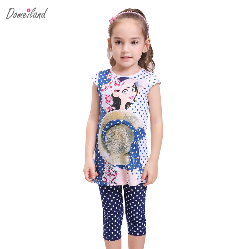 2017 fashion summer brand domeiland children clothing girls outfits 2pcs sets short sleeve print polka Dot shirts pant suits 2016 fashion summer rare editios for girls cute clothing outfits kids short sleeve bow cotton polka dot dress with pants suit