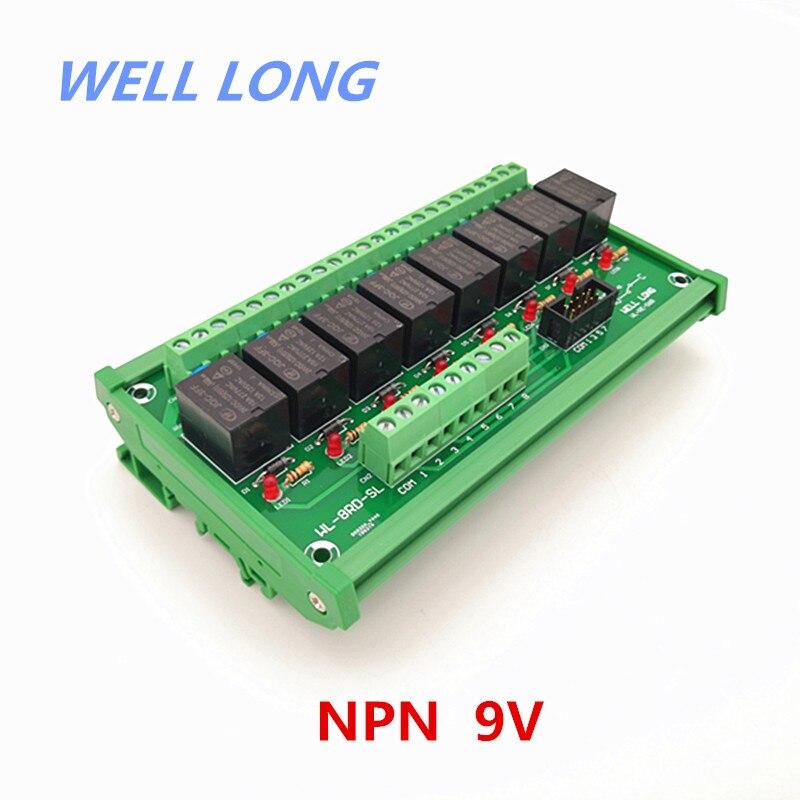 DIN Rail Mount 8 Canal NPN Type 9 V 15A relai electrique Interface Module, HF JQC-3FF-9V-1ZS Relais.