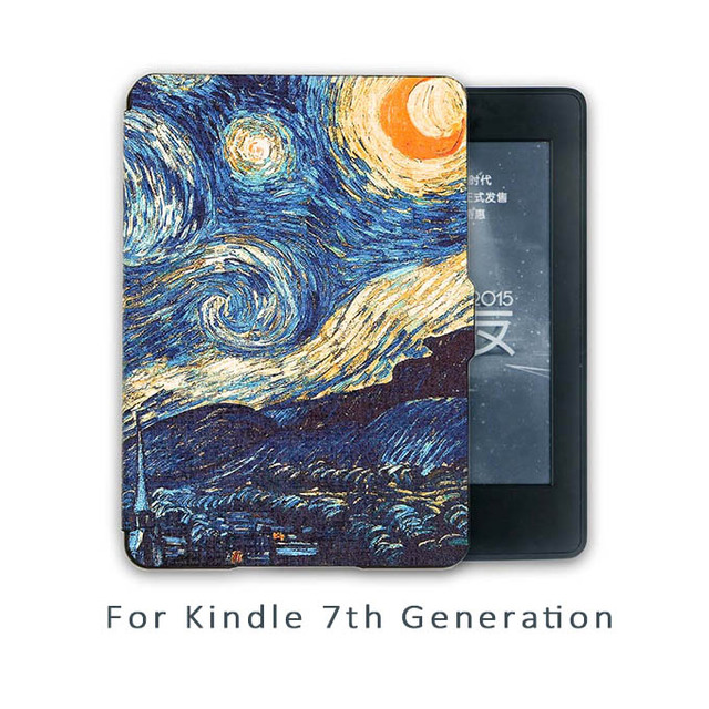 huge discount e27a4 c1985 US $8.99  Kindle 7th Generation Case Van gogh Design Skin,Lighted Slim  Leather Cover(7th generation not have screen light)-in Tablets & e-Books  Case ...
