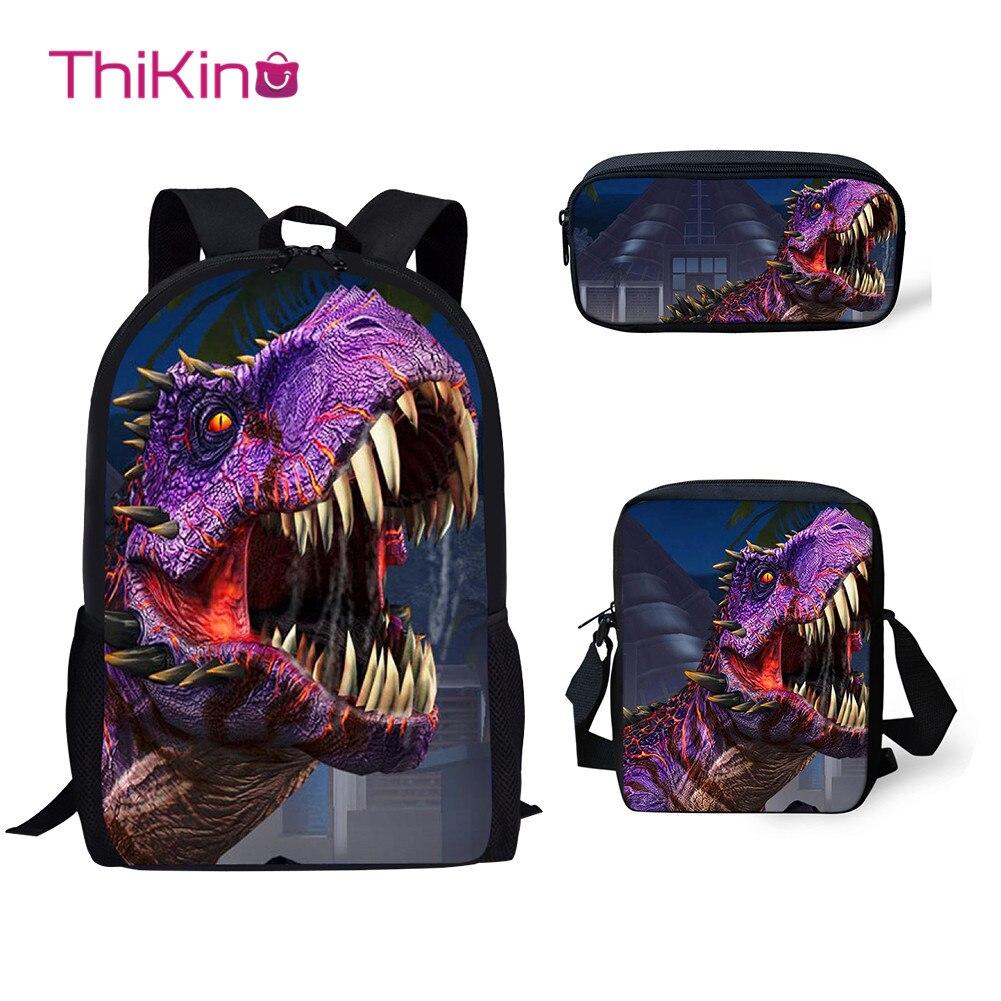 Thikin 3Pcs/set Children School Bags for Boys Jurassic World Dinosaur Pattern Backpack Teen Girls Kids Book