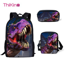 Thikin 3Pcs/set Children School Bags for Boys Jurassic World Dinosaur Pattern Backpack Teen Girls Kids Book