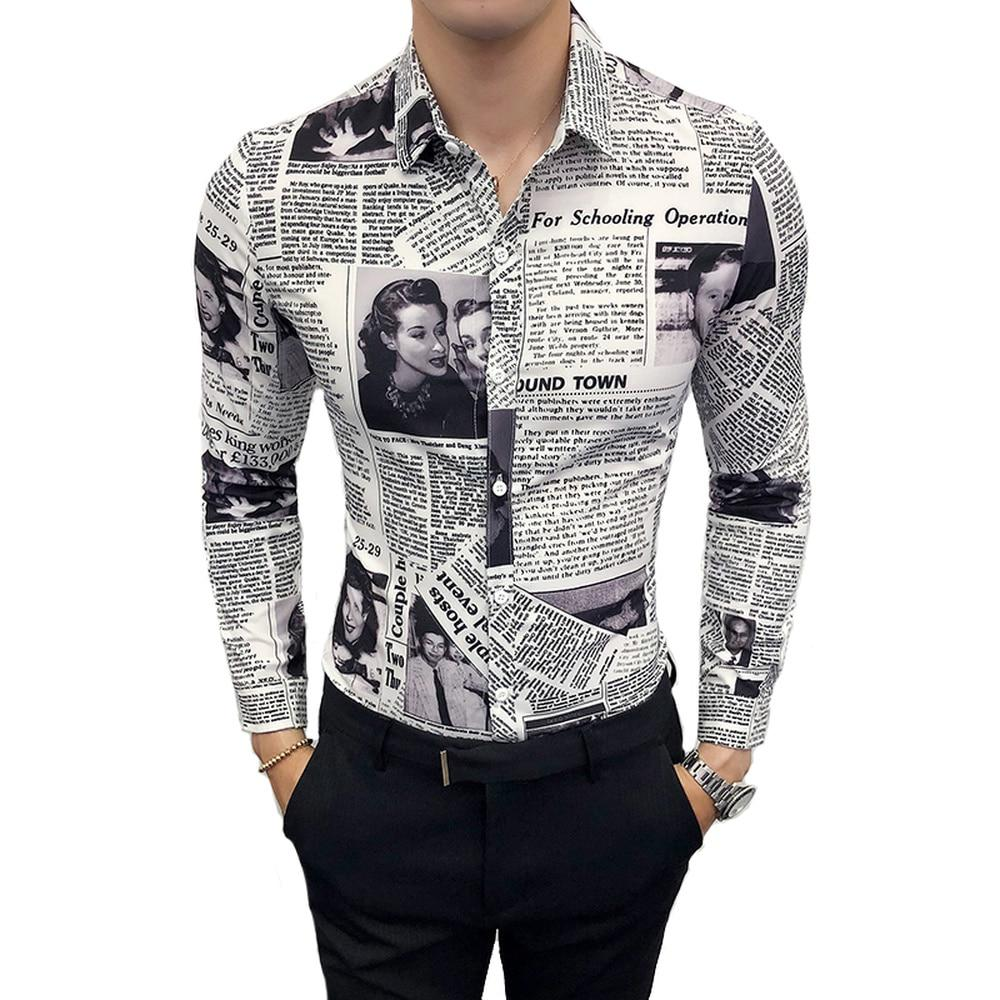 LOLDEAL New Fashion Long Sleeve Black White  Shirt Letter Newspaper Print Loose Casual Mens Blouse