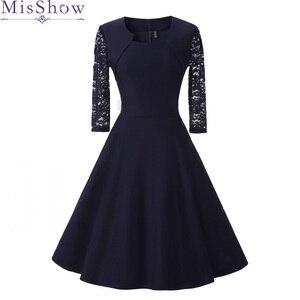 Image 1 - חדש סתיו נשים קוקטייל המפלגה שמלת 2019 אלגנטי אונליין קצר כחול כהה ליידי קוקטייל שמלות בציר קצר פורמליות שמלה לנשף