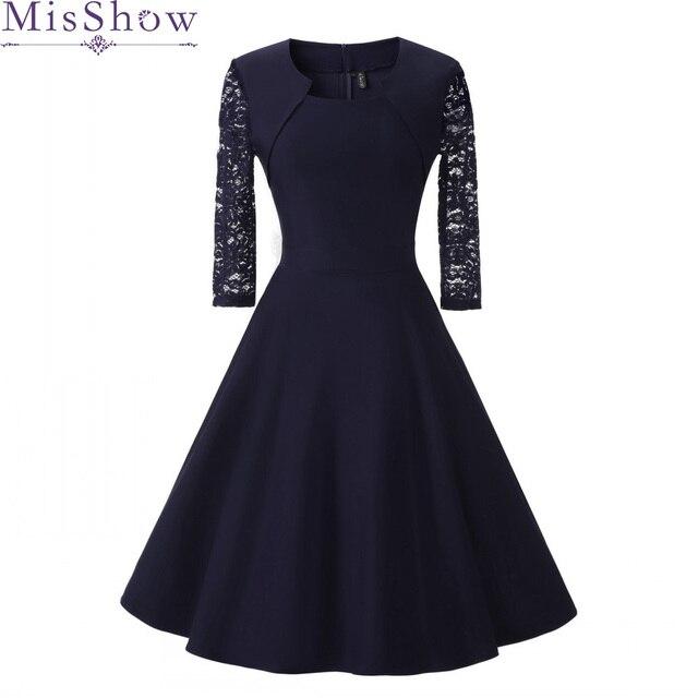 חדש סתיו נשים קוקטייל המפלגה שמלת 2019 אלגנטי אונליין קצר כחול כהה ליידי קוקטייל שמלות בציר קצר פורמליות שמלה לנשף