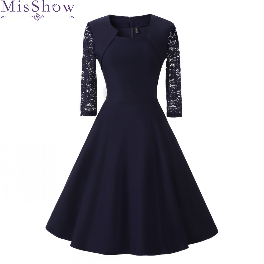 New Autumn Women Cocktail Party Dress 2019 Elegant A-Line Short Navy Blue Lady Cocktail Dresses Vintage Short Formal Prom Dress