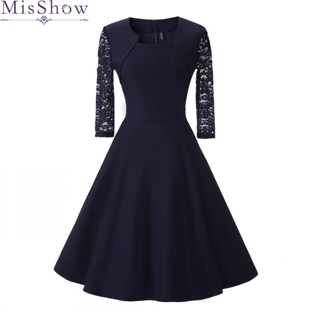 New Autumn Women Cocktail Party Dress 2019 Elegant A-Line Short Navy Blue Lady Cocktail Dresses Vintage Short Formal Prom Dress