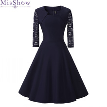New Autumn Women Cocktail Party Dress  Elegant A Line Short Navy Blue Lady Cocktail Dresses Vintage Short Formal Prom Dress