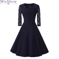 New Autumn Women Cocktail Party Dress 2019 Elegant A Line Short Navy Blue Lady Cocktail Dresses Vintage Short Formal Prom Dress
