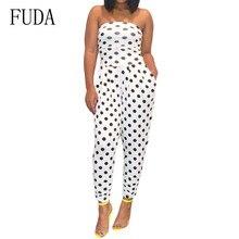 FUDA Elegant Bodysuits Women Summer Fashion Polka Dot Holiday Slim Bodycon Long Jumpsuits Sexy Backless Strappy White Playsuits