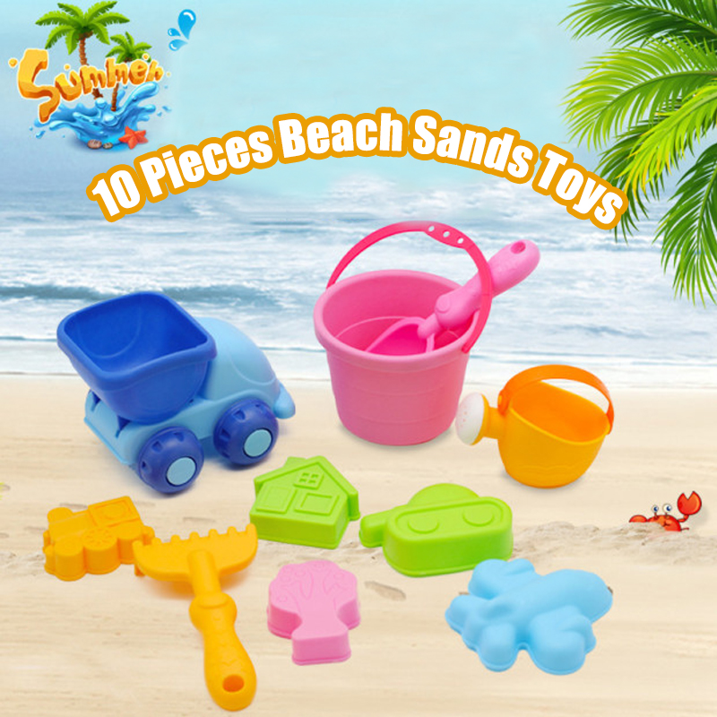 10 Pics Soft Silicone Beach Sands Toy Water Fun Swimming Toys for Kids Bathroom Shower Car bucket Outdoor Pretend Play Tool